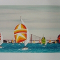 Spinnakers under the Golden Gate Bridge - Image Size : 15x30 Inches